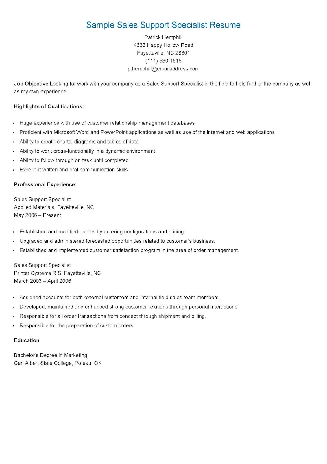 Sample Sales Support Specialist Resume resame Pinterest