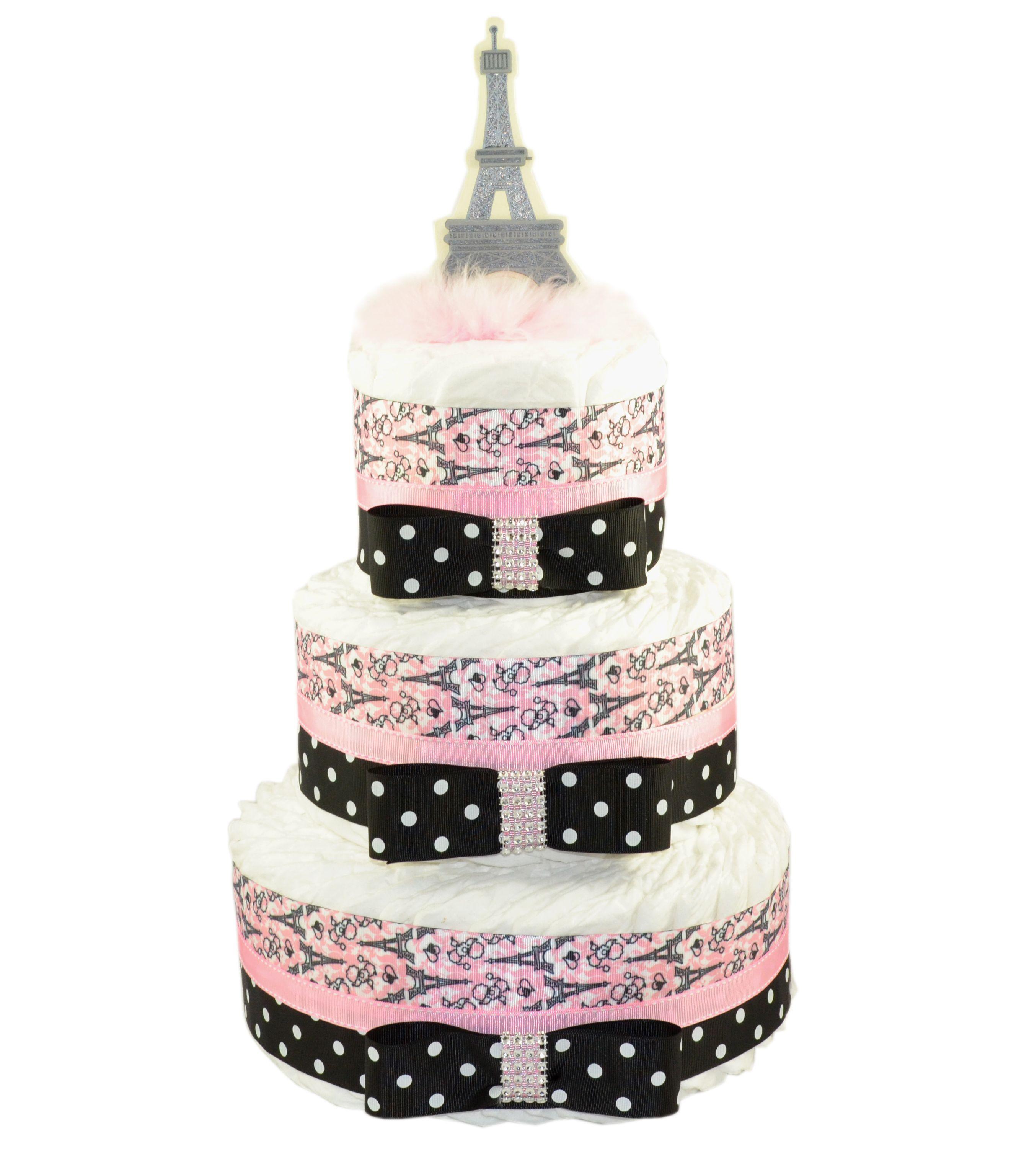 Black and White Damask Paris Eiffel Tower Mini Diaper Cake |Eiffel Tower Diaper Cake