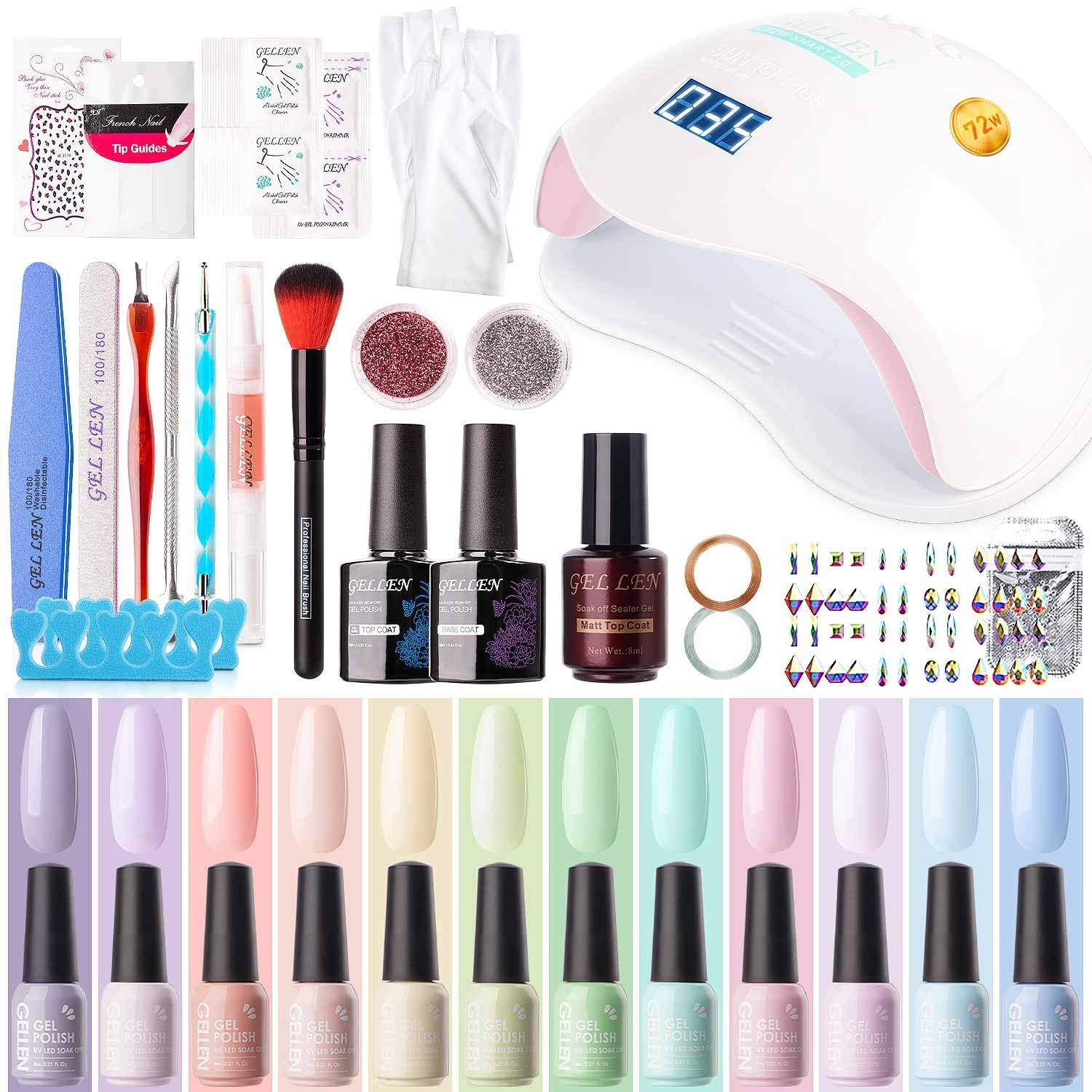Gellen Gel Nail Polish Starter Kit With 72w Uv Led Nail Lamp 12 Colors Top Base Coat Upgraded Essential H In 2020 Gel Nail Polish Set Led Nail Lamp Manicure At Home