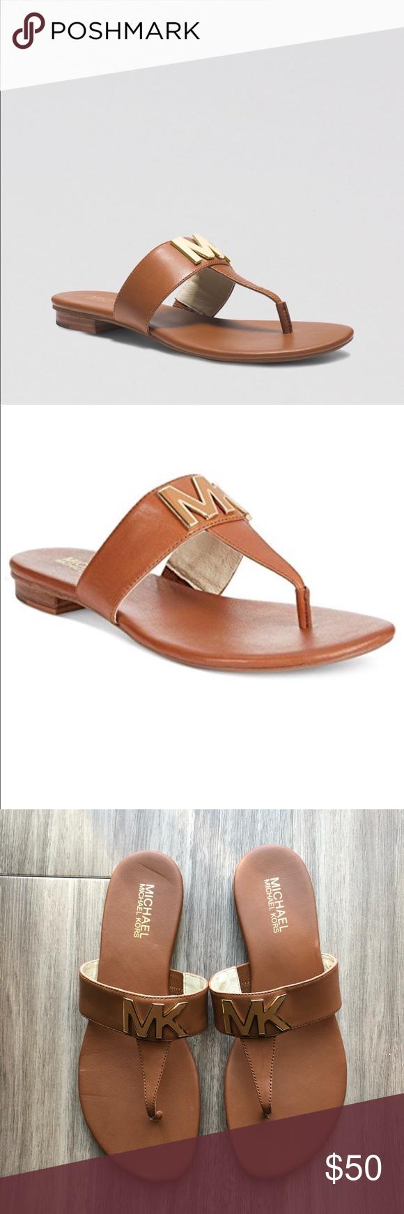 0257d45e2820 Michael Michael Kira Hayley Leather Thong Sandals Michael Michael Kors  Hayley leather thong flat sandals. Mandarin