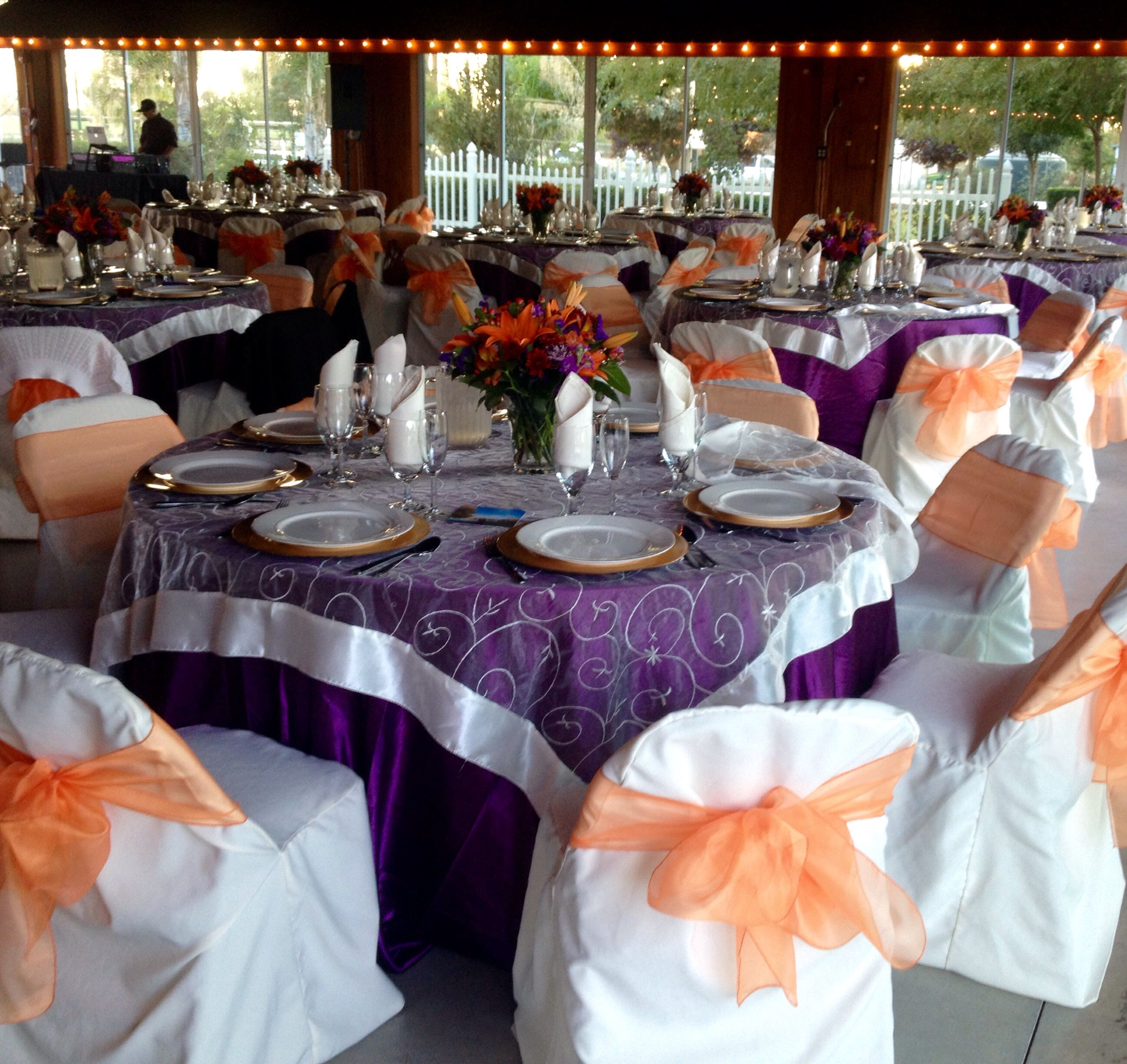 Plum Satin Table Cloth, Ivory Embroidered Organza Overlay, Ivory Chair  Cover, And Orange