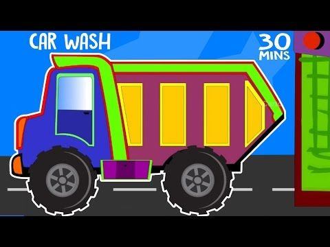 Monster Trucks Cartoon Collection Police Car Wash Video Tow Truck Wash and Repairs - Cartoon Rhymes - YouTube