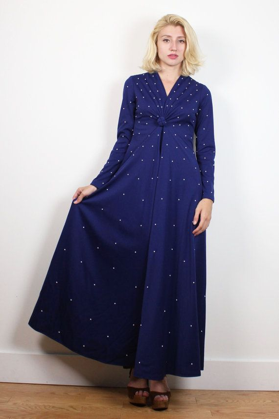 7c54bf5a2dfa1 Vintage 70s Dress Midnight Navy Blue White Beaded Maxi Dress V Neck Knotted  Long Sleeve Dress Mod Hostess Gown 1970s Dress XS Extra Small S #1970s #70s  ...