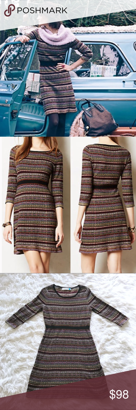 c01a6e2eee9 Anthropologie Sparrow Clara Fairisle Sweater Dress Anthropologie Sparrow  Clara Sweater Dress. Fair isle print Sweater