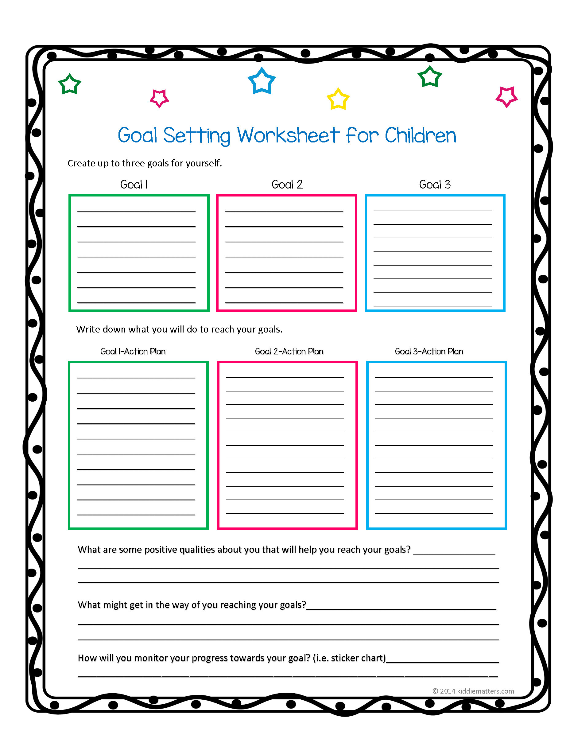 this worksheet and free printable helps children learn how to set goals and create action plans. Black Bedroom Furniture Sets. Home Design Ideas