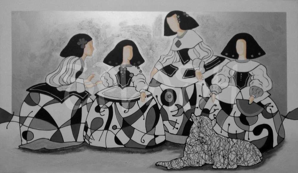 Meninas inspiradas en vel zquez con colores plata negro y - Cuadros de meninas modernos ...