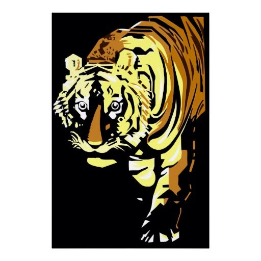 """High image quality Vector art deco tiger posters up to 40"""" by 60"""" (ca 100 by 150 cm)"""