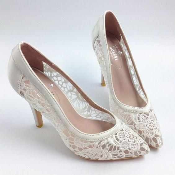 97db9fd9dad Sexy See Through High Heels Pointed Toe Lace Wedding Bridal Shoes ...