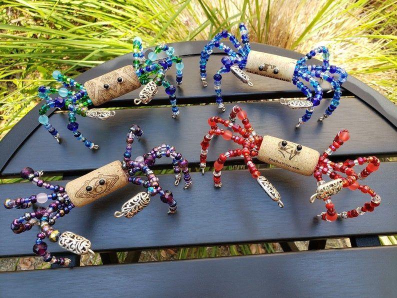 Wine Cork Blue Crab Figurine, Ocean Lover, Beach H