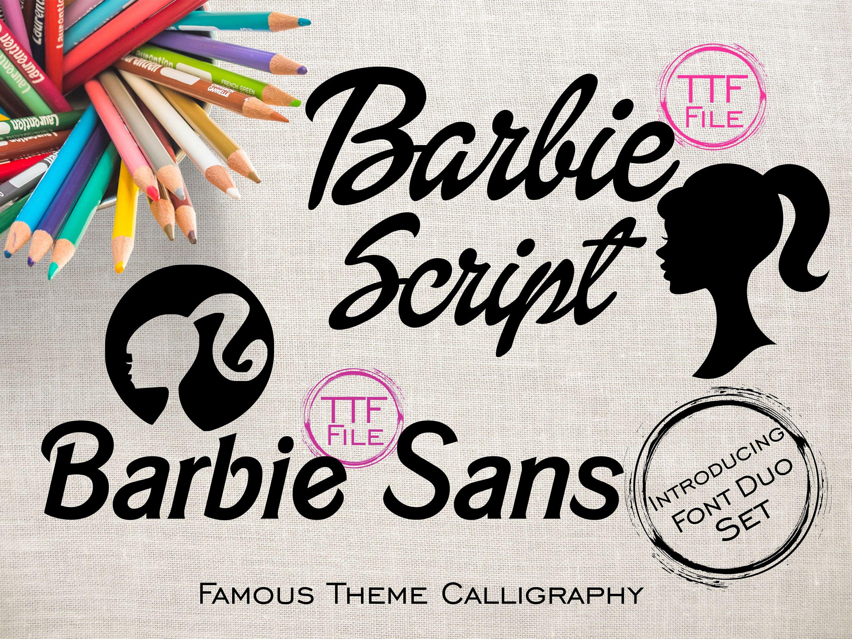 Fonts Set Digital Font Famous Barbie Movie Girls Font Barbie Clipart