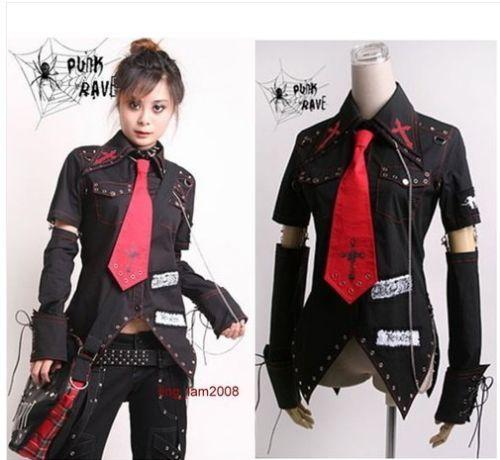 Unisex Visual Kei Punk Gothic Kera Lolita Shirt Top Blouse Red Tie Black Sz M | eBay