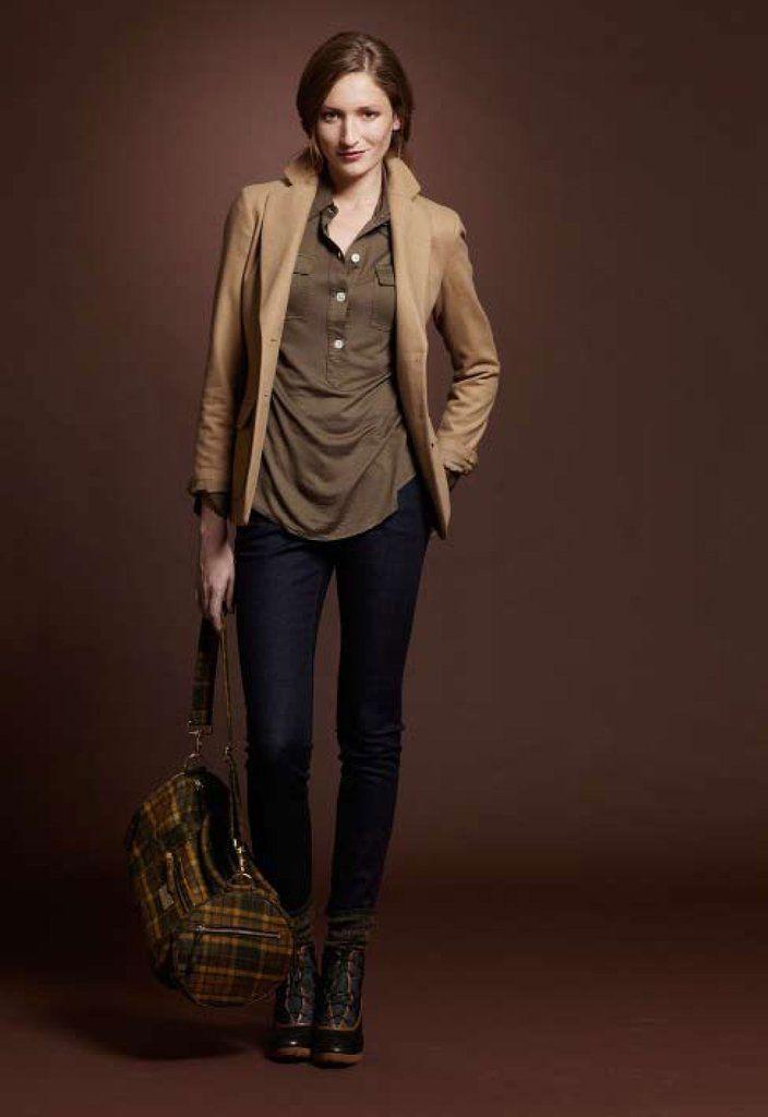 c6bb193e2 Modal Wool Pullover, $119; British Flannel Blazer, $350; Six Pocket Skinny  Jean, $69; Ducktrap Boot, $179; Downeaster Wool Sport Duffle, $95