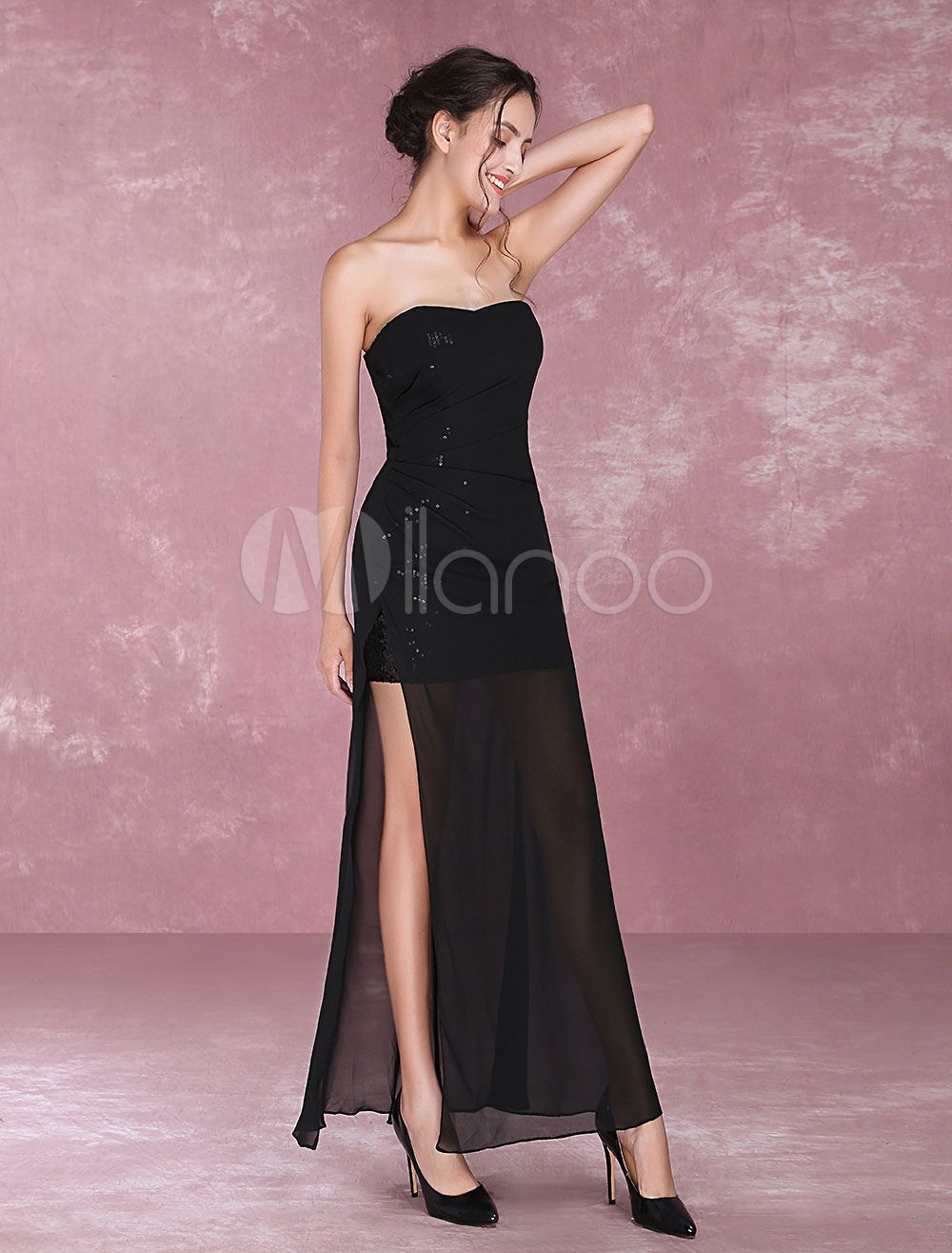 Black Evening Dresses Sexy High Split Illusion Sweetheart Strapless ...