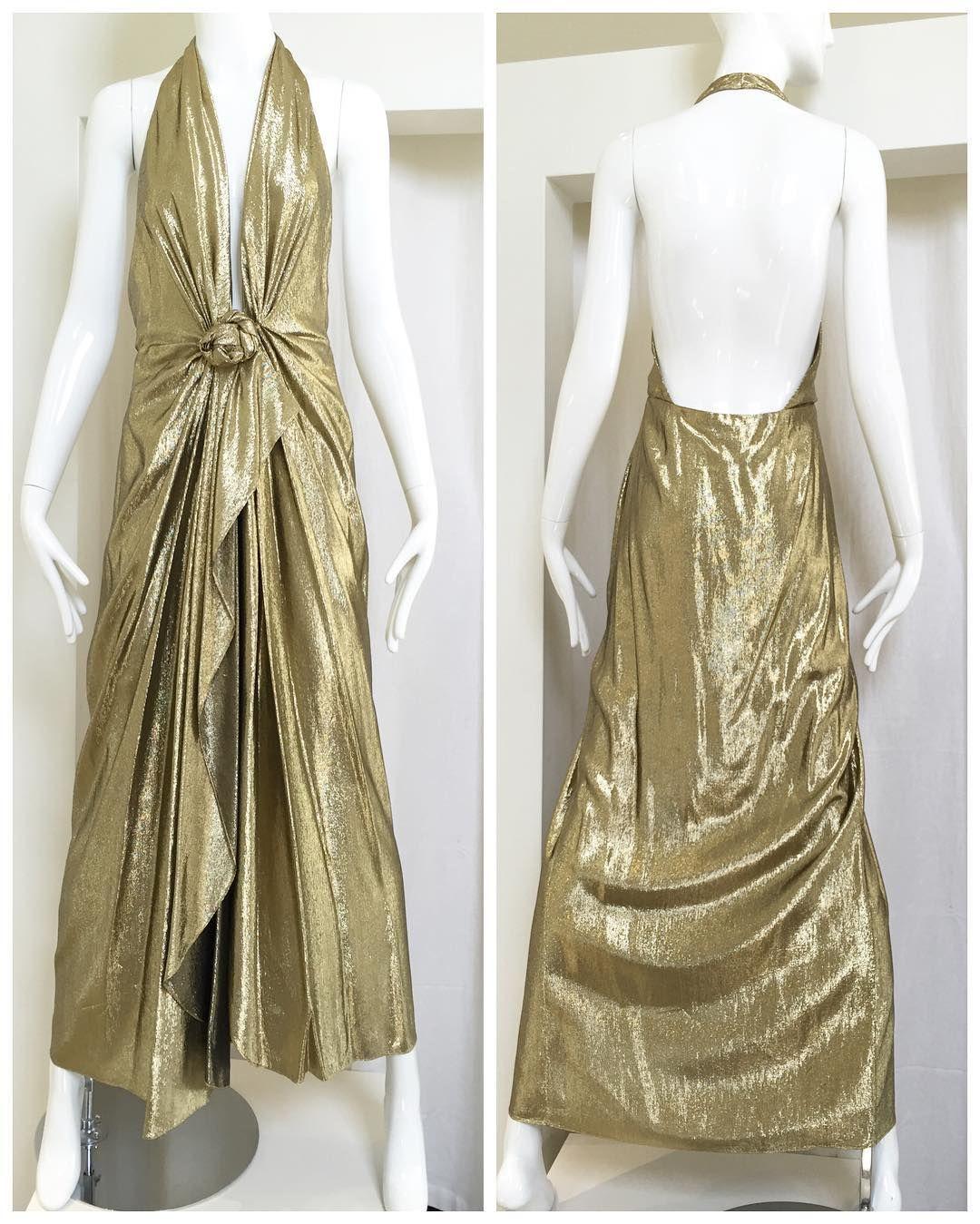 1970s lamé halter dress #vintagefashion #vintagedesigner #sielianvintage #1970sdress #1970sfashion #vintagedesigner by sielianvintage
