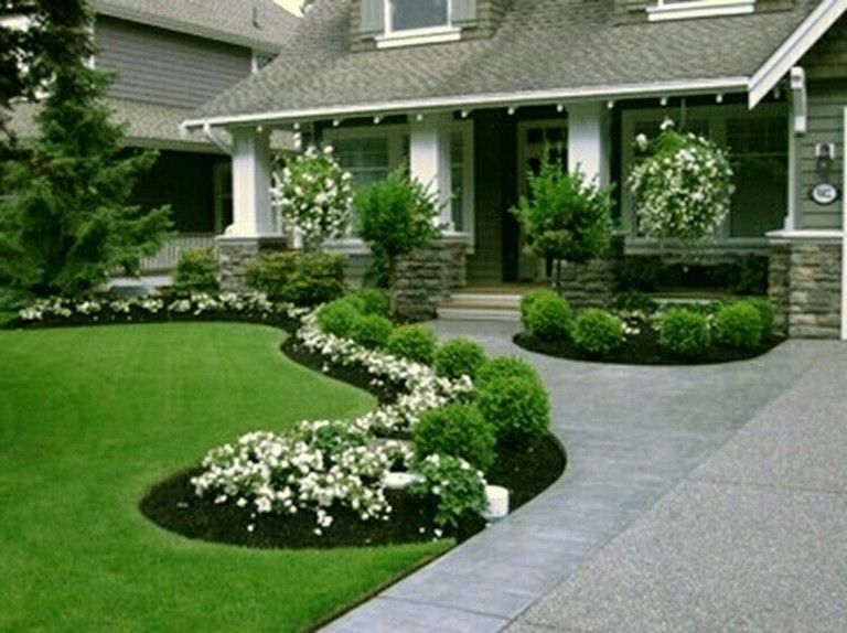 51 Smart Ideas To Make Evergreen Landscape Garden On Your Front Yard Page 4 Of 52 Front Yard Landscaping Design Porch Landscaping Front Landscaping