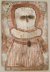 Painting of a Wandjina on pine board, collected by H. Petri in the northwest Kimberley  Photo: Anthropology Department, copyright Western Australian Museum, E10452