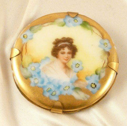 Vintage Porcelain Portrait Brooch with Hand Painted Forget me nots and Gilt Border