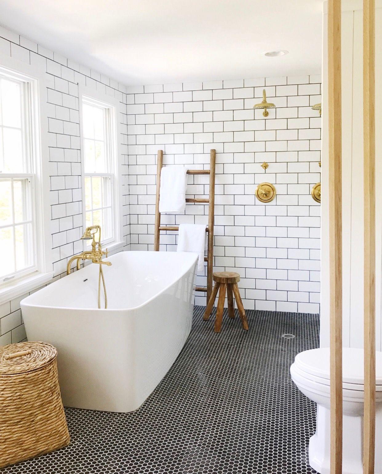 white subway tile + black penny floors | Bathrooms | Pinterest ...
