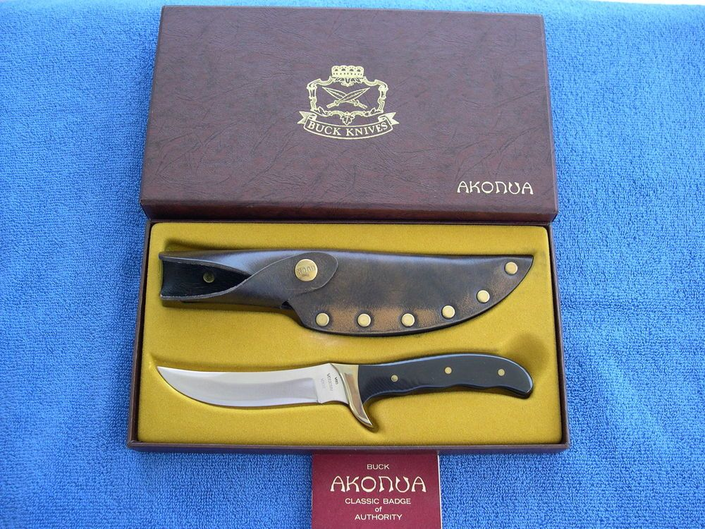 "BUCK KNIVES MODEL 402 ""AKONUA"" KNIFE LINEN MICARTA HANDLE EL CAJON CA 1974"