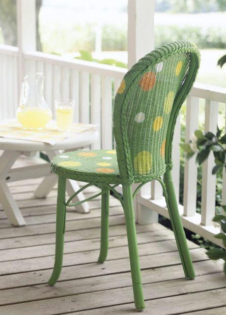 Stuhl, Mein Garten, Selber Machen, Gestrichene Korbmöbel, Möbel Lackieren,  Möbelrestauration, Bemalte Stühle, Malerei Korb, Nachgearbeitet Stühle