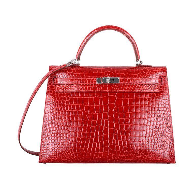 f634107f6452 HERMES KELLY BAG 35cm BRAISE   HOT FERRARI RED CROCODILE POROSUS in ...