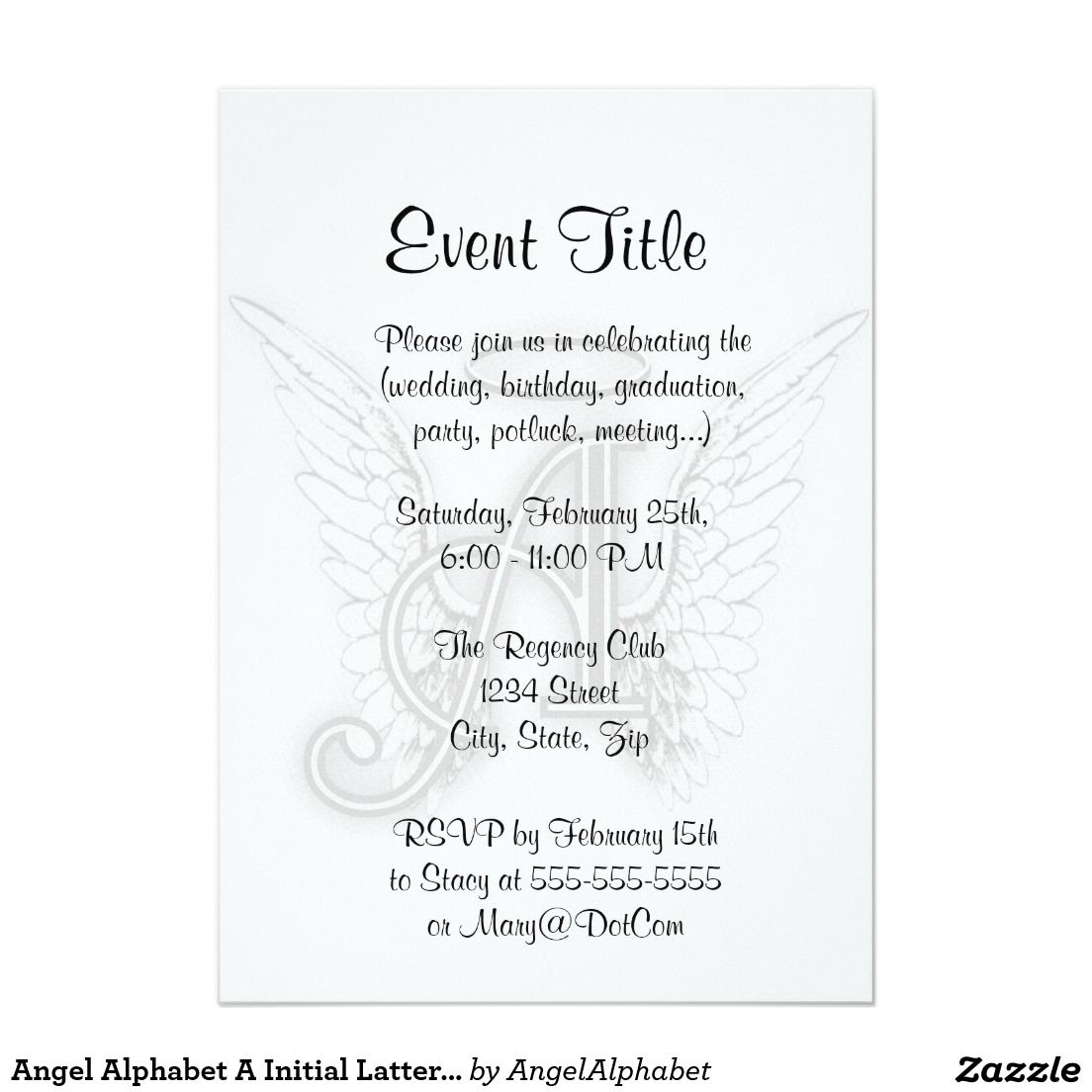 Angel Alphabet A Initial Latter Wings Halo Invitation