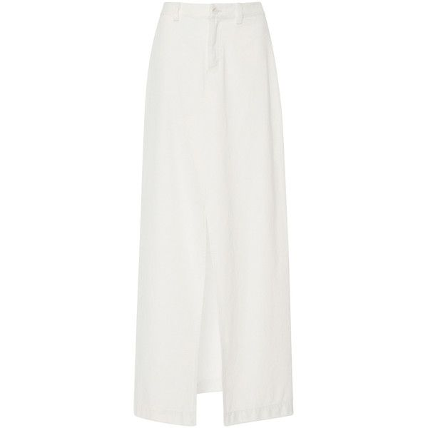 Sea     Maxi Slit Denim Skirt (10 035 UAH) ❤ liked on Polyvore featuring skirts, white, white a line skirt, white maxi skirt, high waisted denim skirt, high waist long maxi skirt and long denim skirts