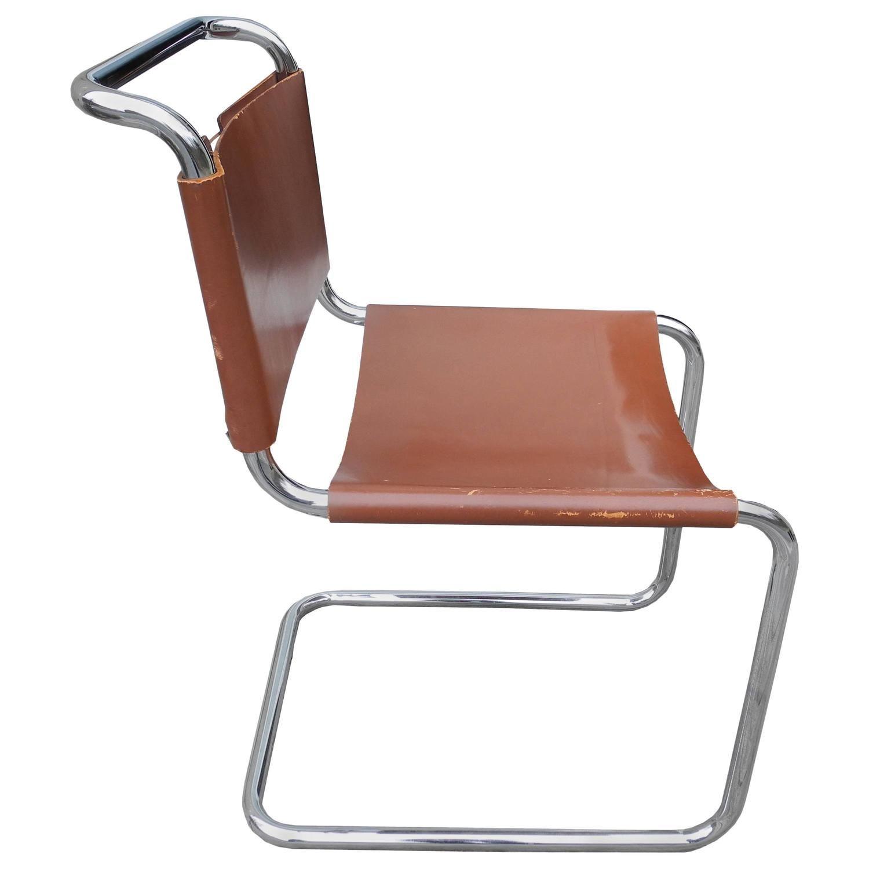 Bauhaus chair breuer - Bauhaus Design Cantilevered Tubular Metal And Saddle Leather Chair By Mart Stam
