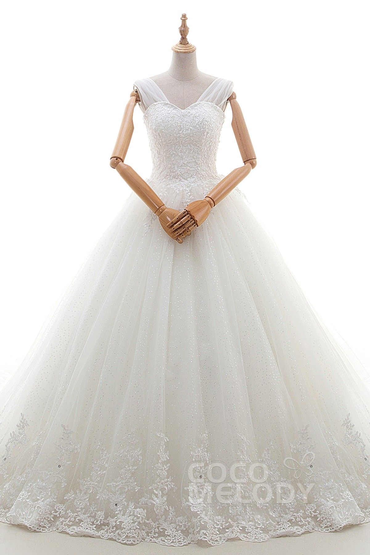 Princess Cathedral Train Tulle Lace Wedding Dress