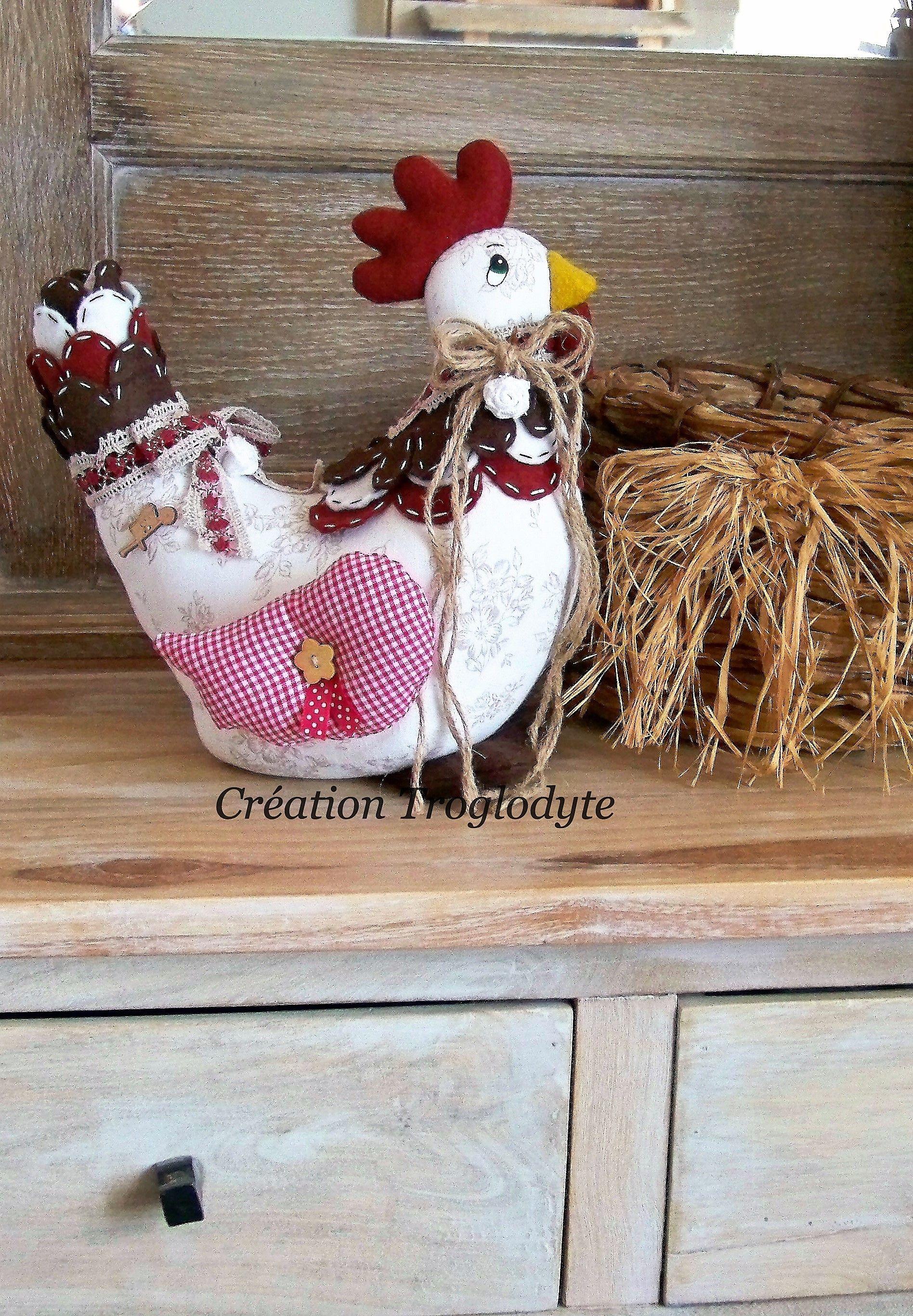 Poule en tissus, décoration campagne chic, artisanat