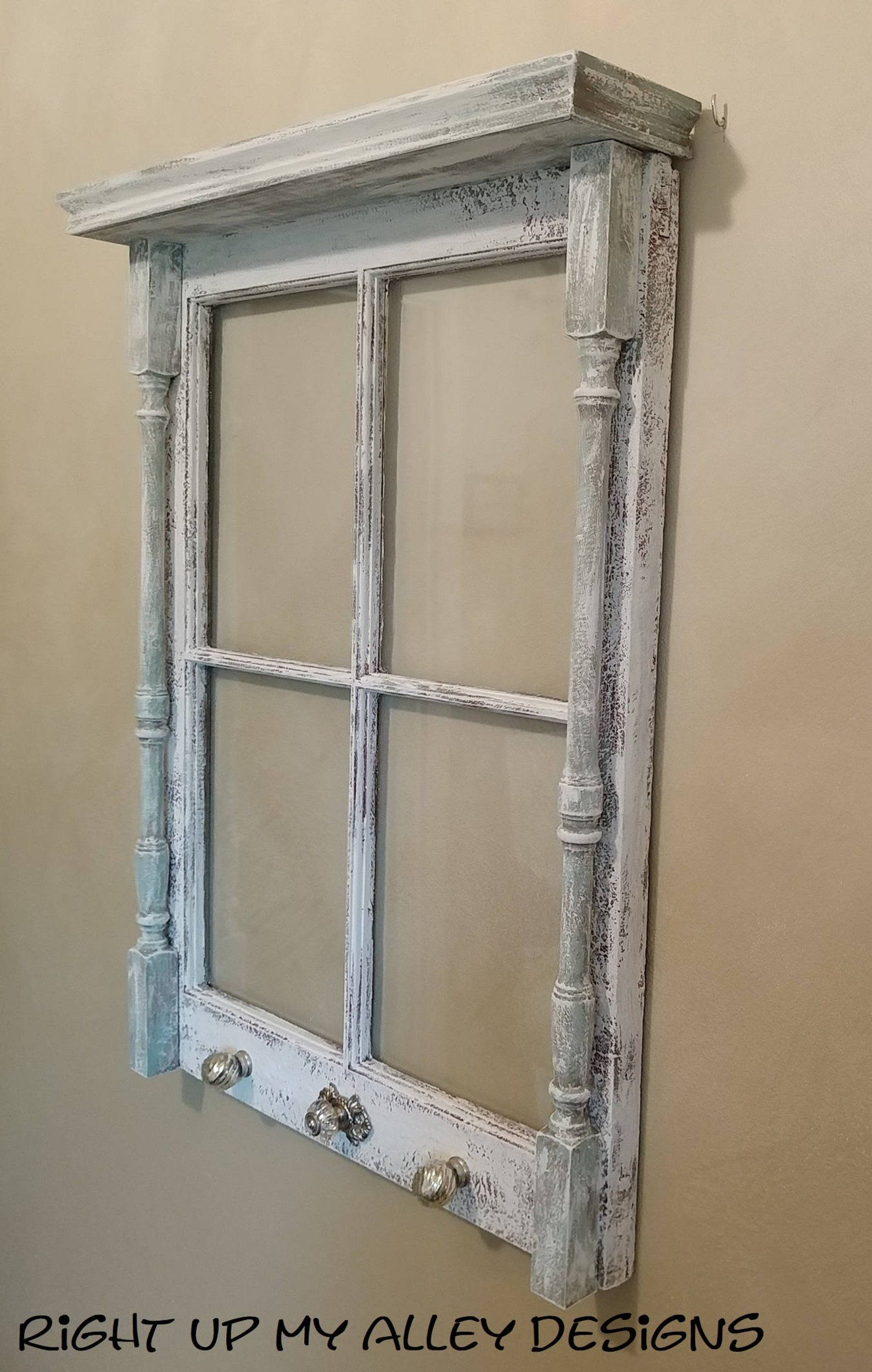 Old Window With Shelf Window Ideas Small 4 Pane Window With Shelf Distressed Window Unique Window Window Decor Upcycled Window Repurposed Old Window Decor Window Decor Decor
