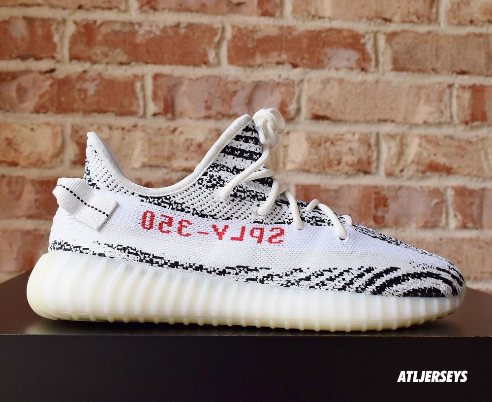c331a37df Adidas Yeezy Boost 350 V2 Zebra Kanye 100% Authentic White Red Size 4-14
