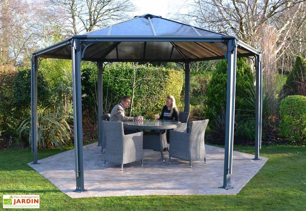 Tonnelle De Jardin Aluminium #11: Tonnelle Design Hexagonale En Aluminium 438x289cm