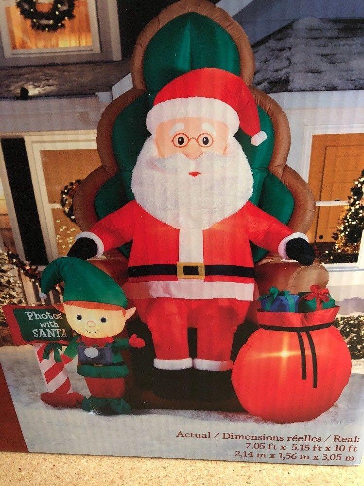 10â Christmas Inflatable Elf Photos W/ Santa Sitting Chair Airblown