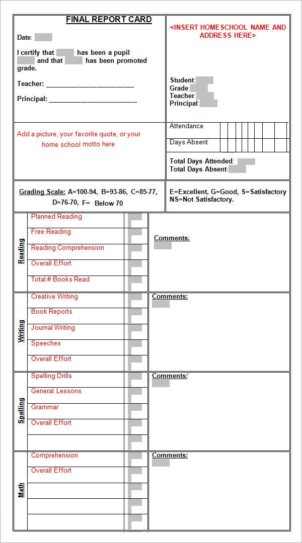 Sample Report Card Template   Download Documents In Pdf  Word