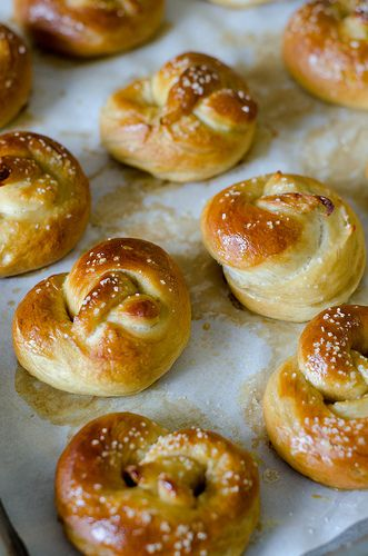 Homemade Soft Pretzels.  If you like soft pretzels, you will love these.  Perfectly fluffy in the inside, enveloped in a golden salty shell.