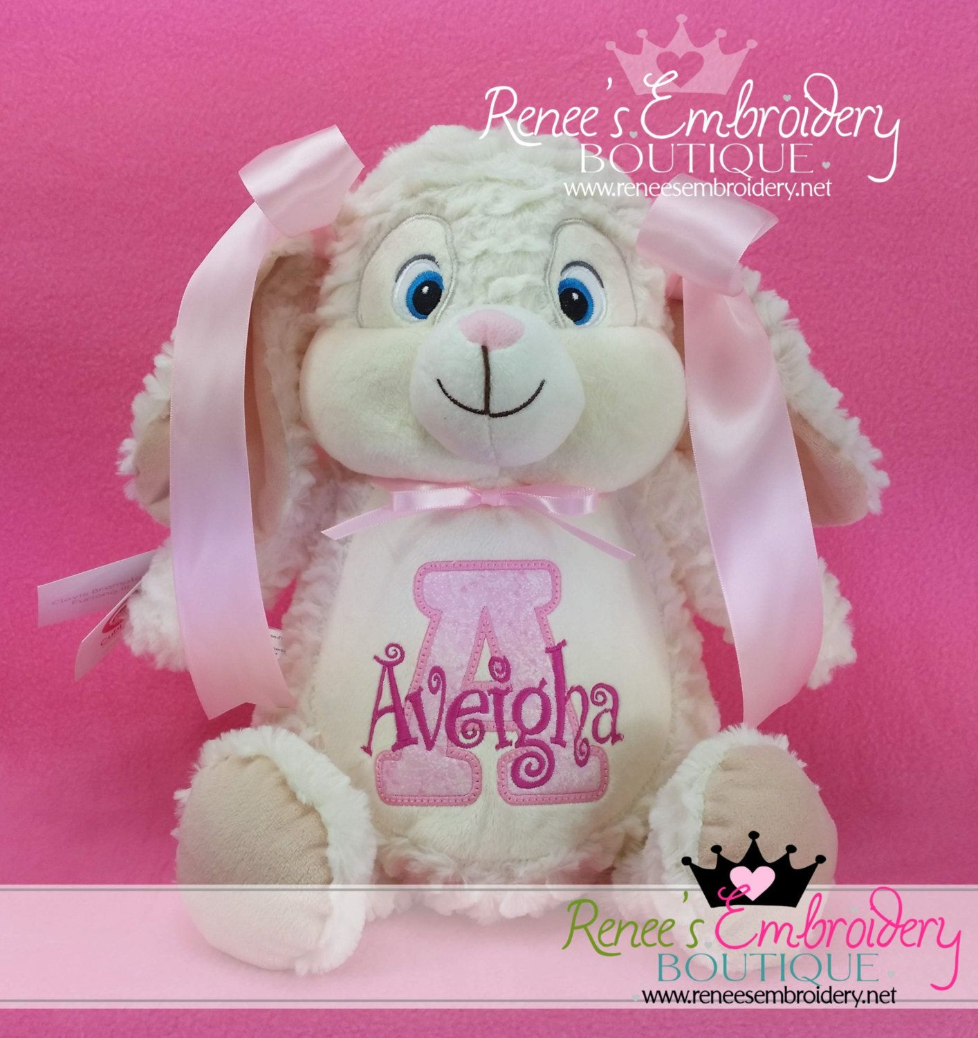 Personalized easter bunny stuffed rabbit birth announcement personalized baby gift new baby easter bunny rabbit birth announcement monogrammed stuffed animal keepsake by reneesembroidery negle Gallery