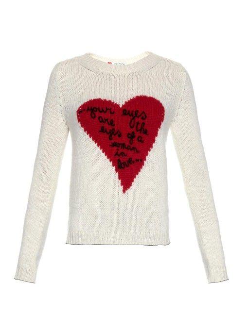 Valentino Heart-intarsia cashmere sweater
