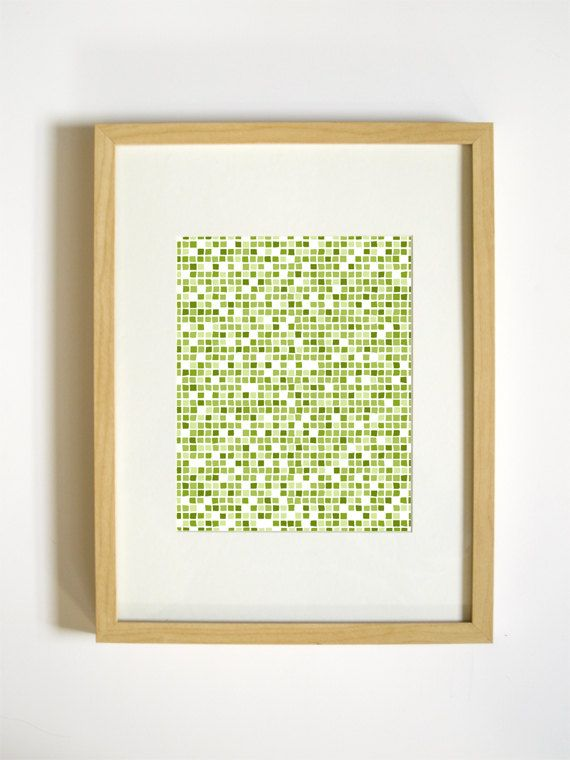 Square Geometric Wall Decor - Green Pixel Art Print - 8x10. $20.00 ...