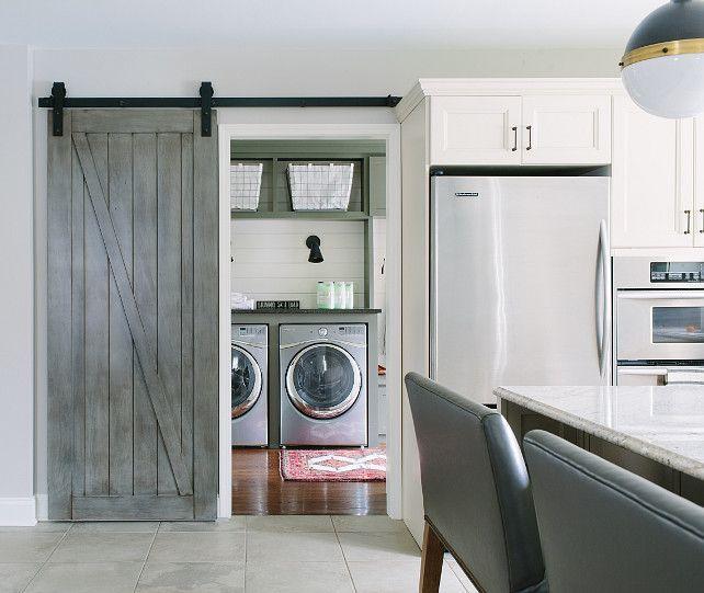 Barn Door Laundry Room. Laundry Room With Reclaimed Barn Door. Laundry Room  Sliding Door