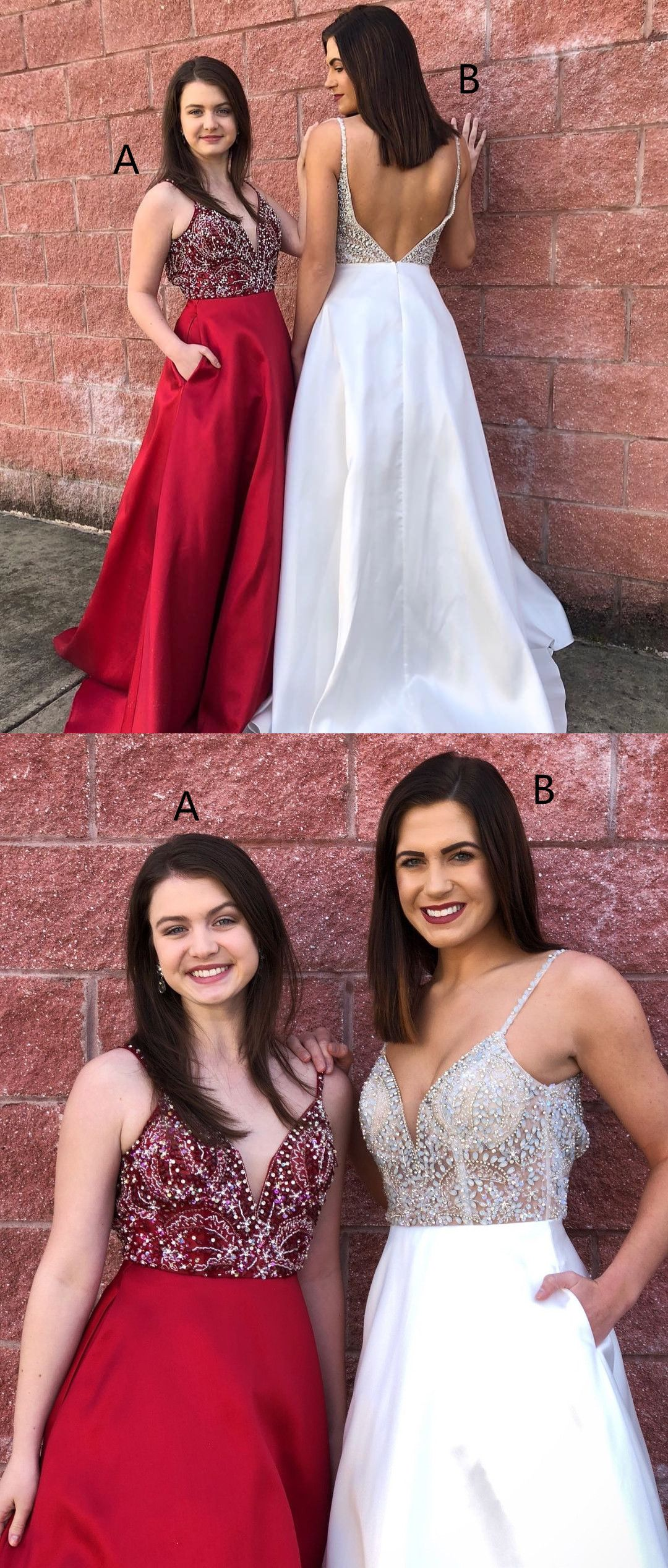 Gorgeous long prom dressbeads red prom dress white long prom dress