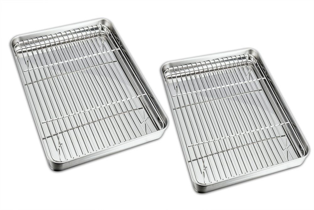 Teamfar Baking Sheet With Rack Set 2 Pans 2 Racks Stainless Steel Baking Pan Cookie Sheet With Cooling Rack No Clean Dishwasher Easy Cleaning Baking Pans