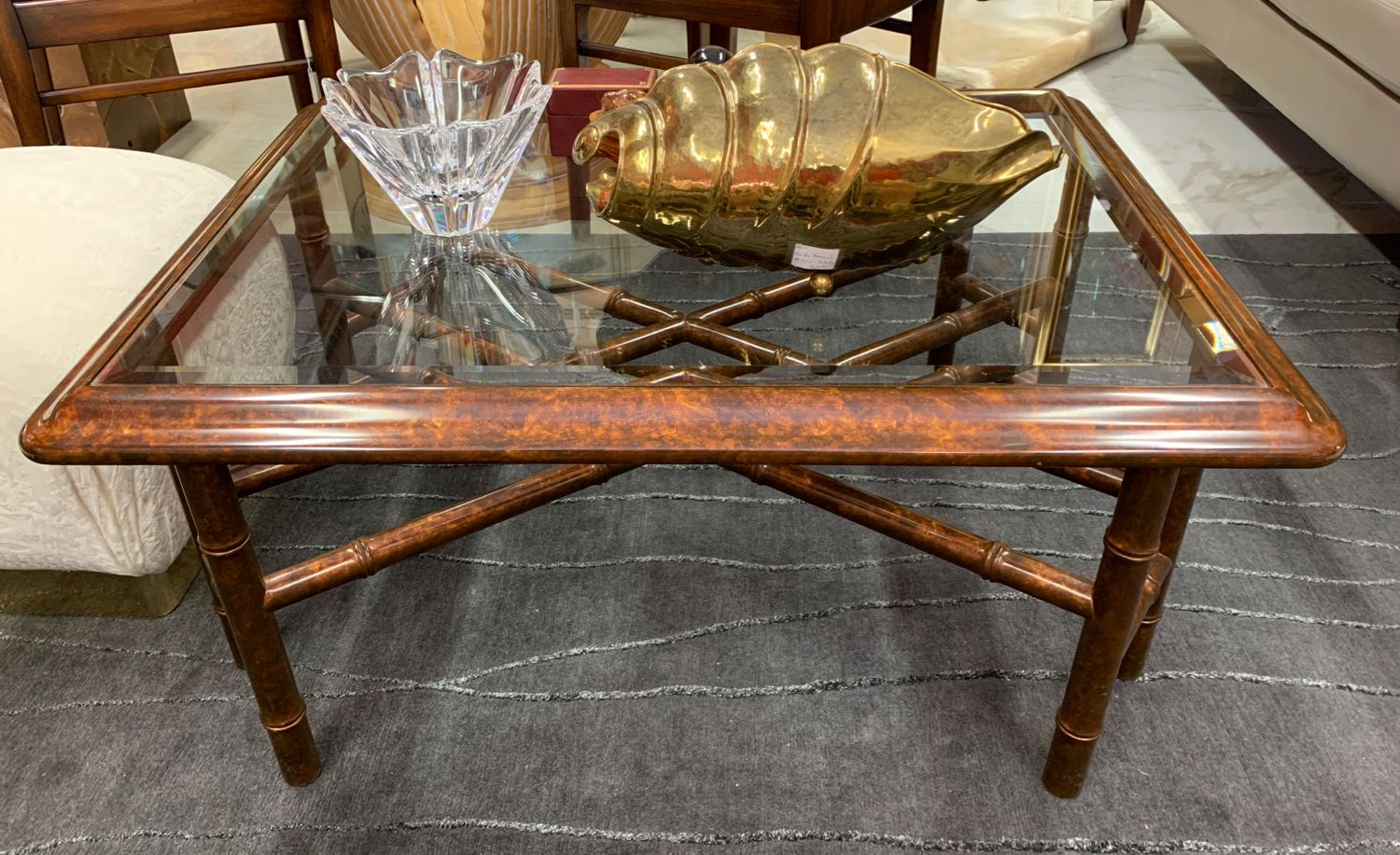 Glass Top Coffee Table Has A Tortoise Shell Finish Sometimes Called Oystering For A Rich Look Faux Bamboo Legs An Sell Used Furniture Coffee Table Furniture [ 917 x 1500 Pixel ]