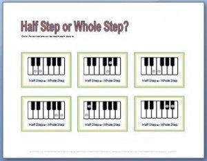 Free Printable Music Theory Worksheets with half steps and whole ...