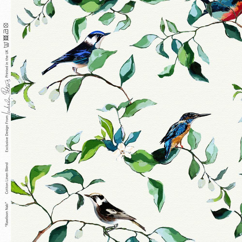 Curtain Fabric Cotton Linen Birds Bird