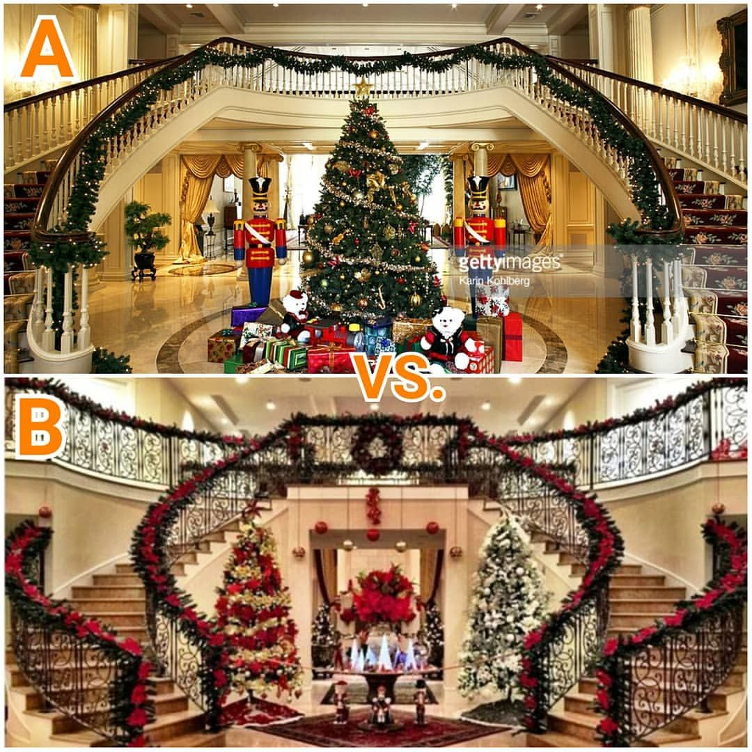 Decorated Homes: Pick Your Double Staircase Decorated For Christmas! A Or B