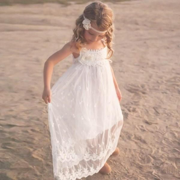 074a702e72 Cute A-Line Scoop Neck White Lace Long Cheap Flower Girl Dresses with  Handmade Flower