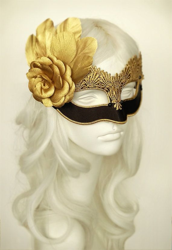 Express Post Opt Masquerade Face Mask NEW Gold and Brown with Gold Flower