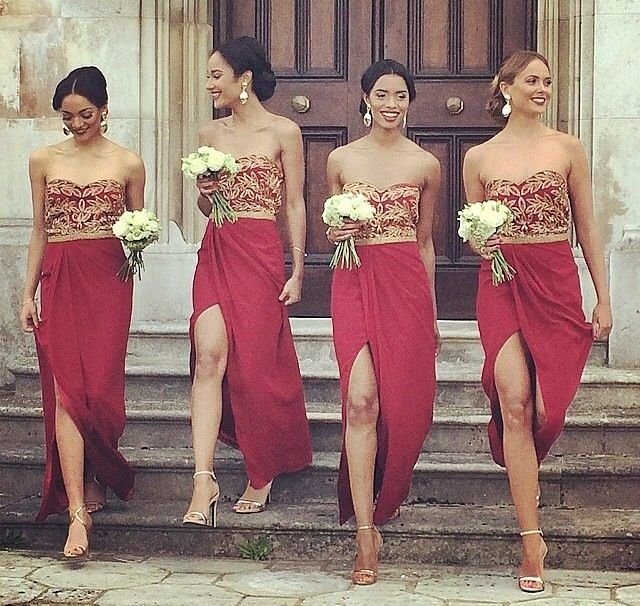 83668da5d61e Cranberry Red & Gold Bridesmaid Dresses with high slit! Loose buns to the side  make a sultry look for these ladies! Wedding