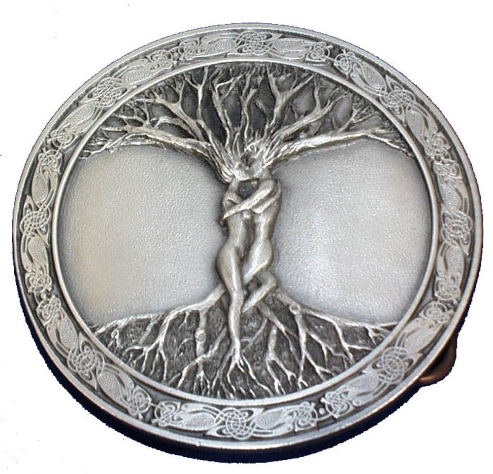 Big Tree Of Life Hippy Gypsy Witch Nature Love Round Belt Buckle Bohemian Metal